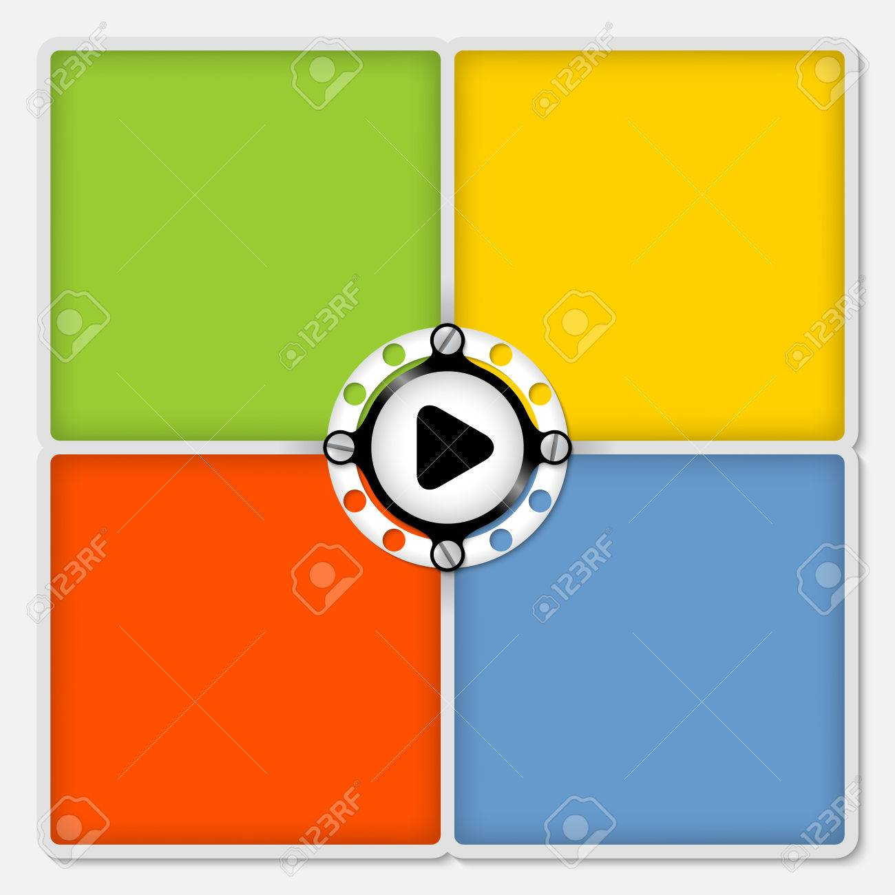 Four Colored Frames For White Text And Play Symbol Royalty Free