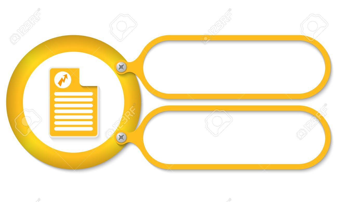 Yellow Frames For Text And Document Icon With Flash Symbol Royalty ...