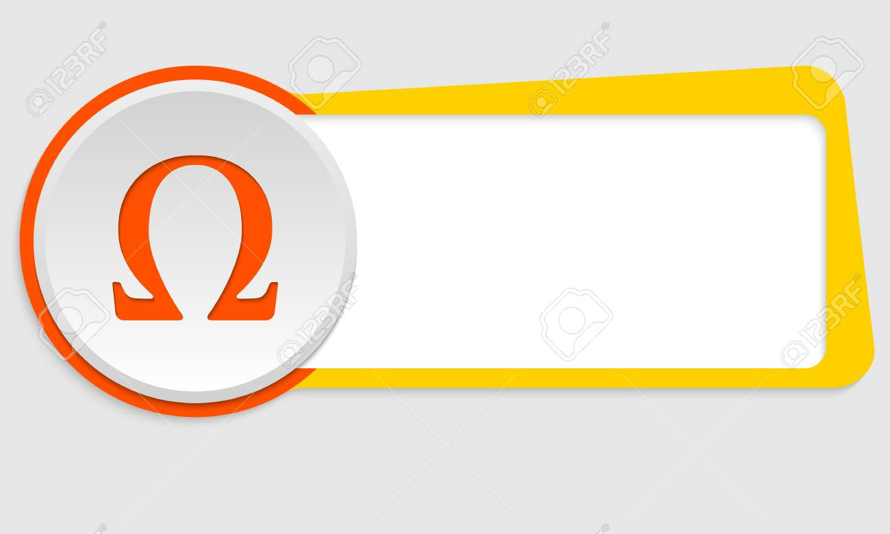 Yellow Frame For Text And Omega Symbol Royalty Free Cliparts