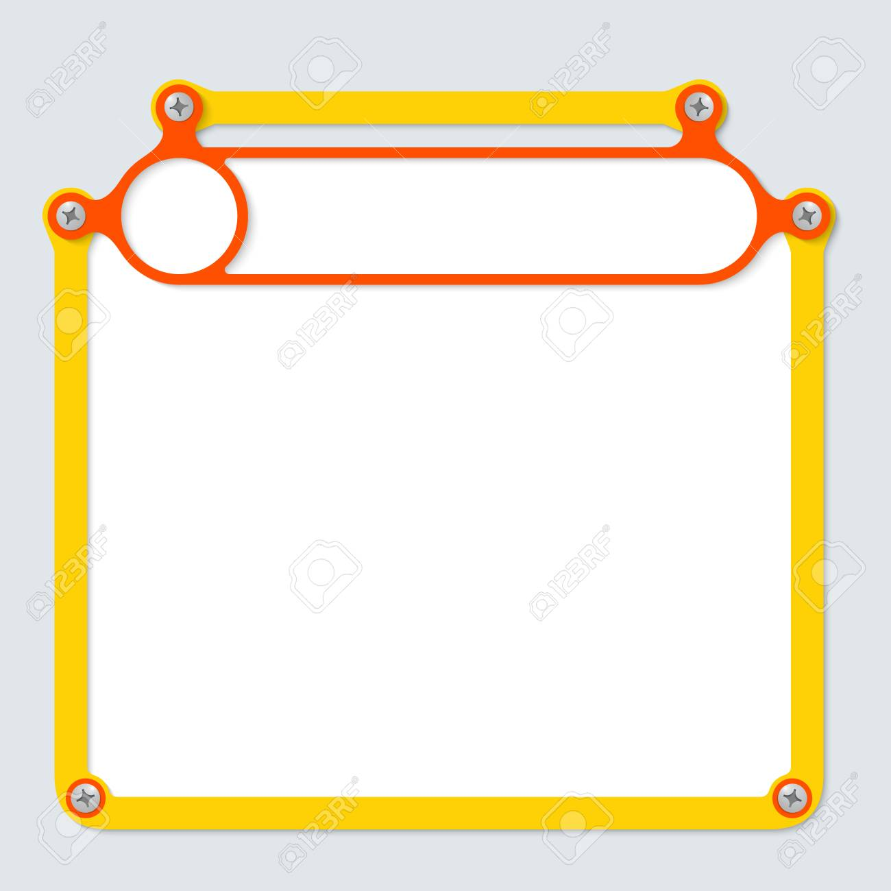 Gelber Rahmen Für Text Mit Schrauben Und Rahmen Für Überschrift ...