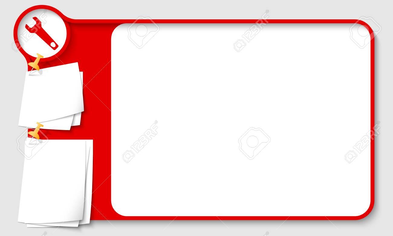 Marco Abstracto Rojo Para El Texto Con La Llave Y Los Papeles De ...