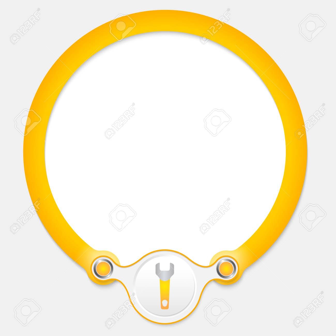 Amarillo Marco Circular Para El Texto Y Llave Ilustraciones ...