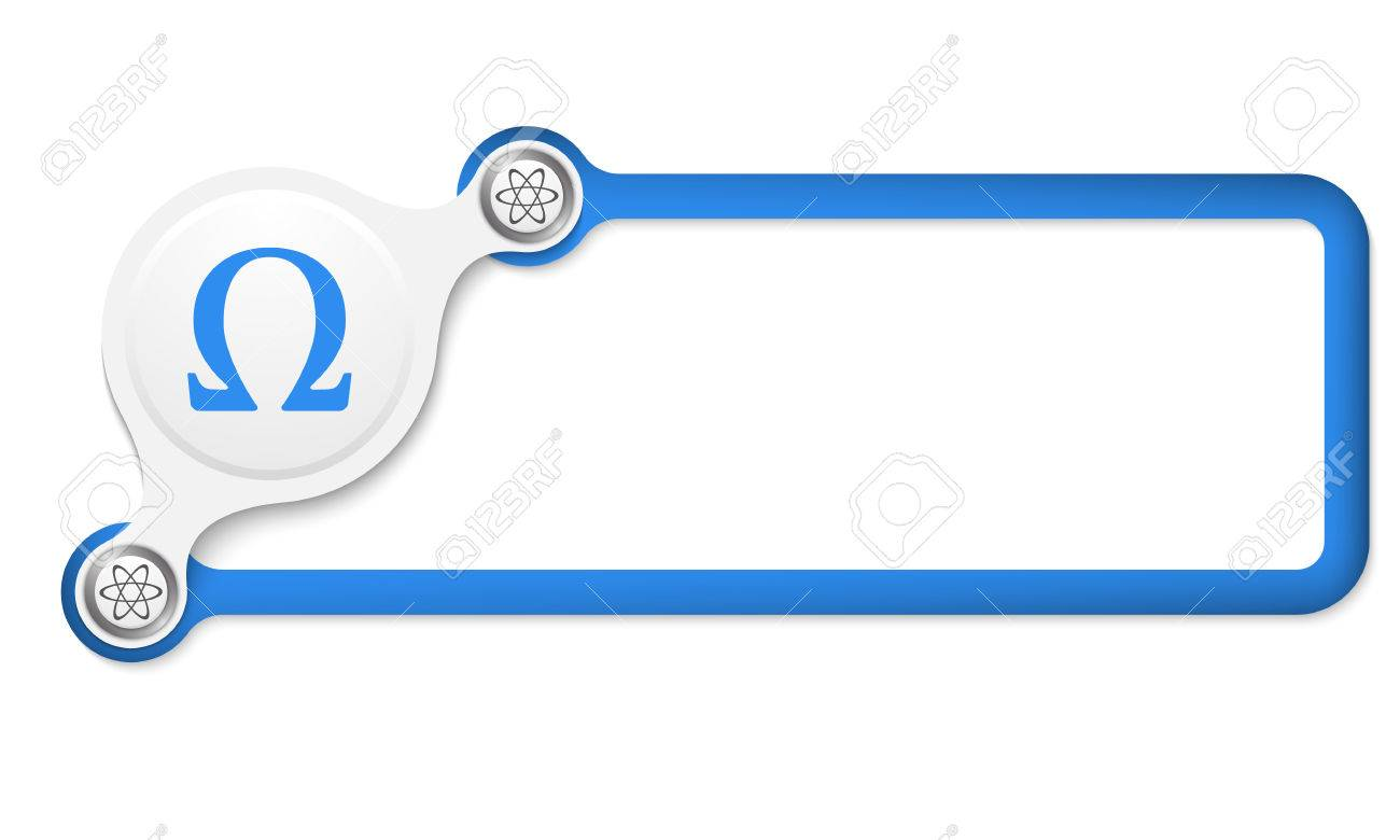 Vector Blue Box For Your Text And Omega Symbol Royalty Free Cliparts