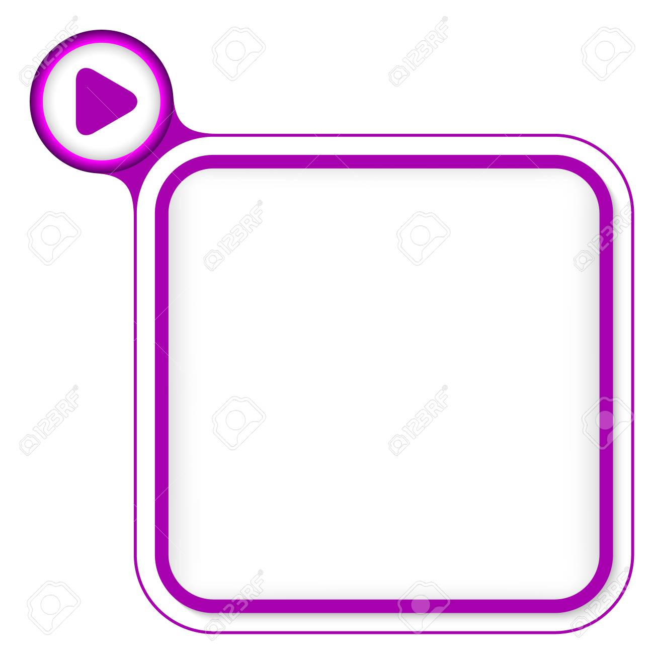 Purple Frame For Your Text And Play Symbol Royalty Free Cliparts