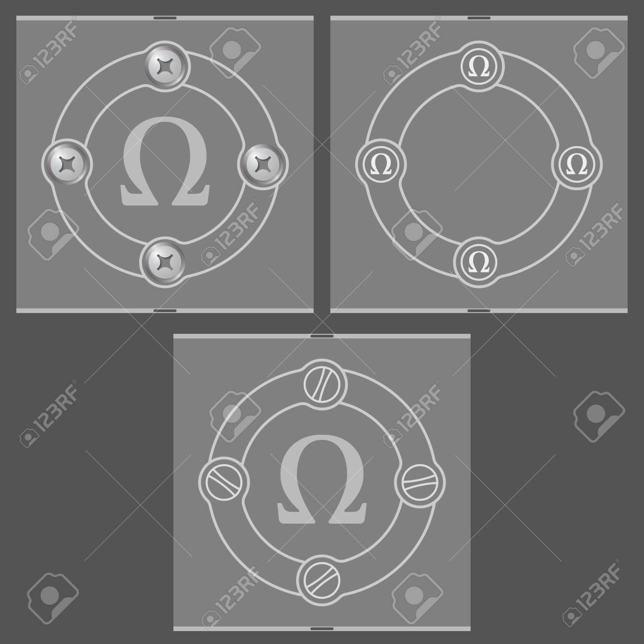 Conjunto De Tres Cuadros Planas Y Símbolo Omega Ilustraciones ...