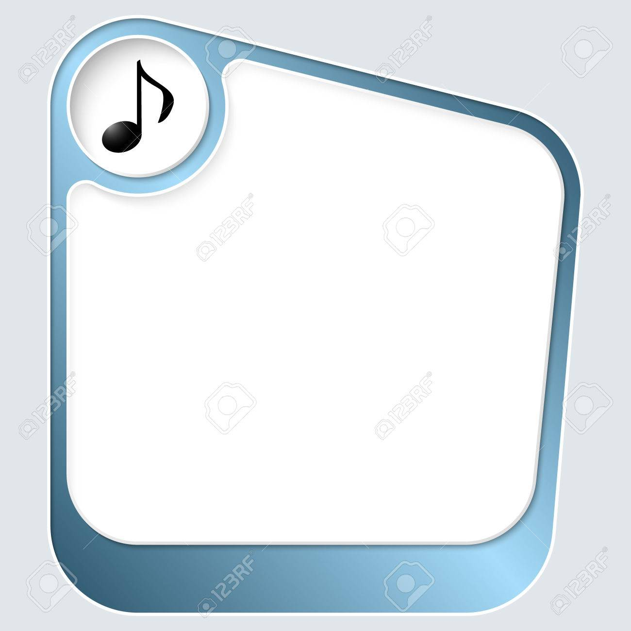Blue Box For Your Text With White Frame And Music Symbol Royalty