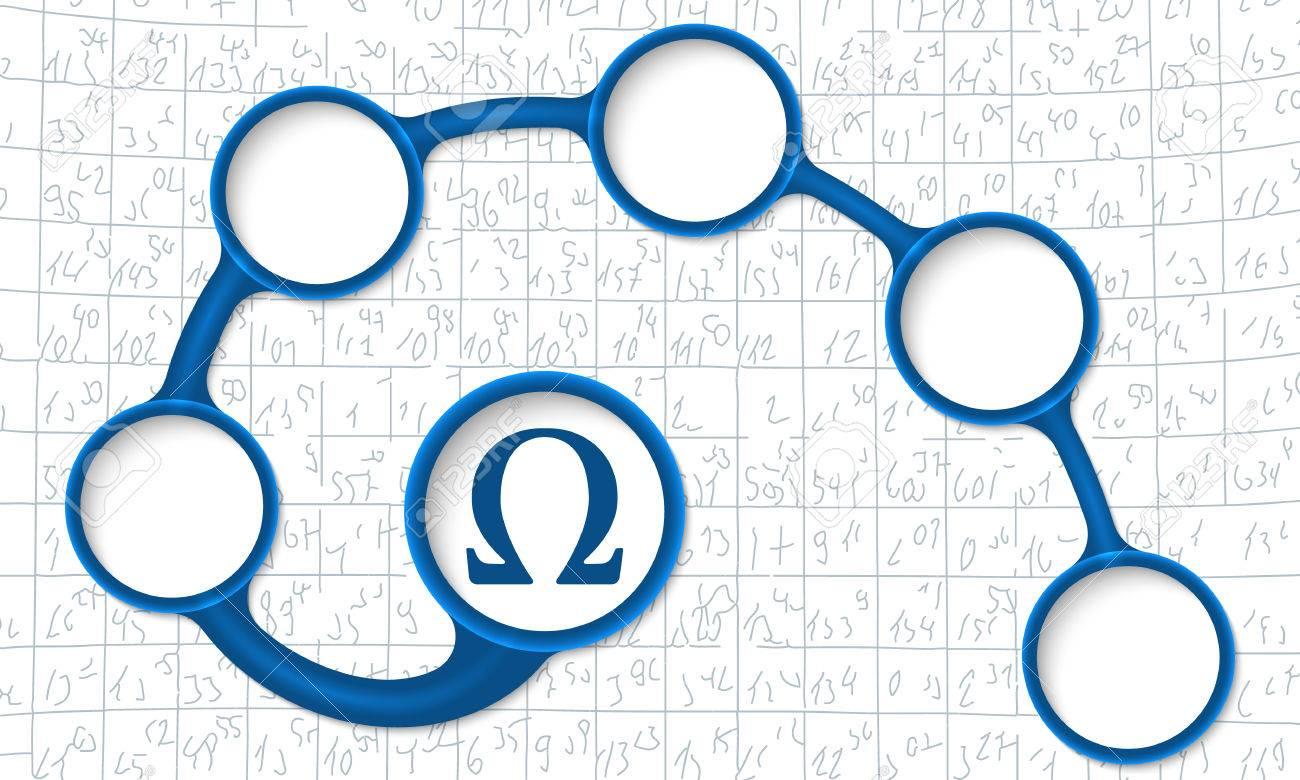 Cuadros De Texto Circulares Azules Para Su Texto Y Símbolo De Omega ...