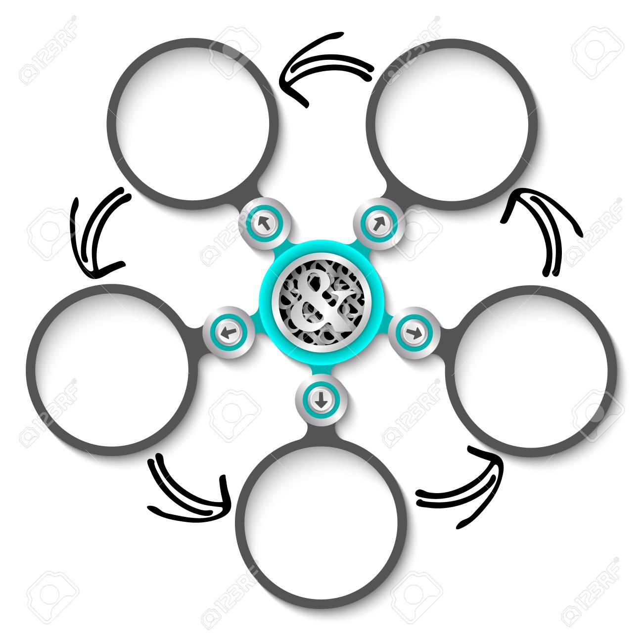 Cinco Cuadros De Texto Abstractos Circulares Y Símbolo ...