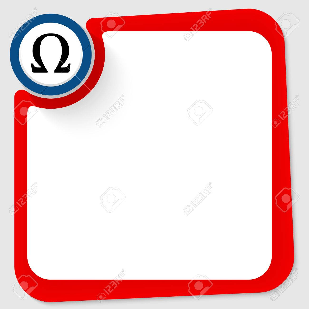 Blue Circle With Omega Symbol And Red Frame For Your Text Royalty
