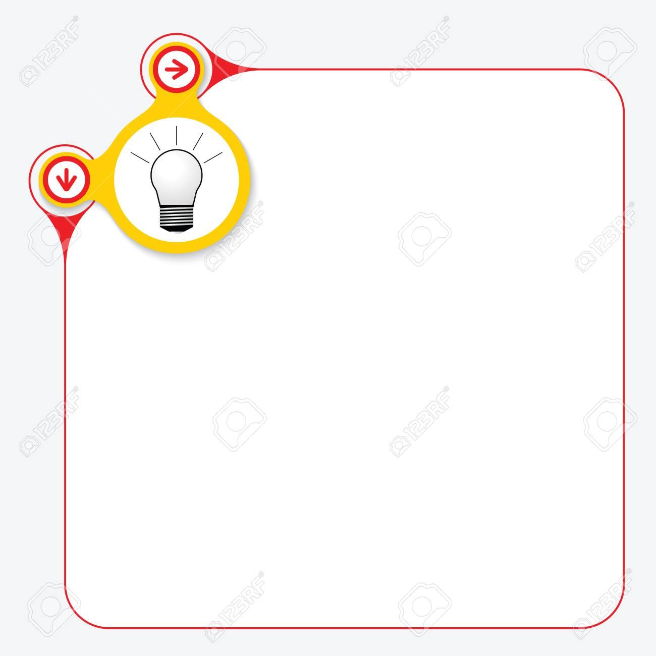 Roter Rahmen Für Ihren Text Und Gelber Kreis Mit Birne Lizenzfrei ...