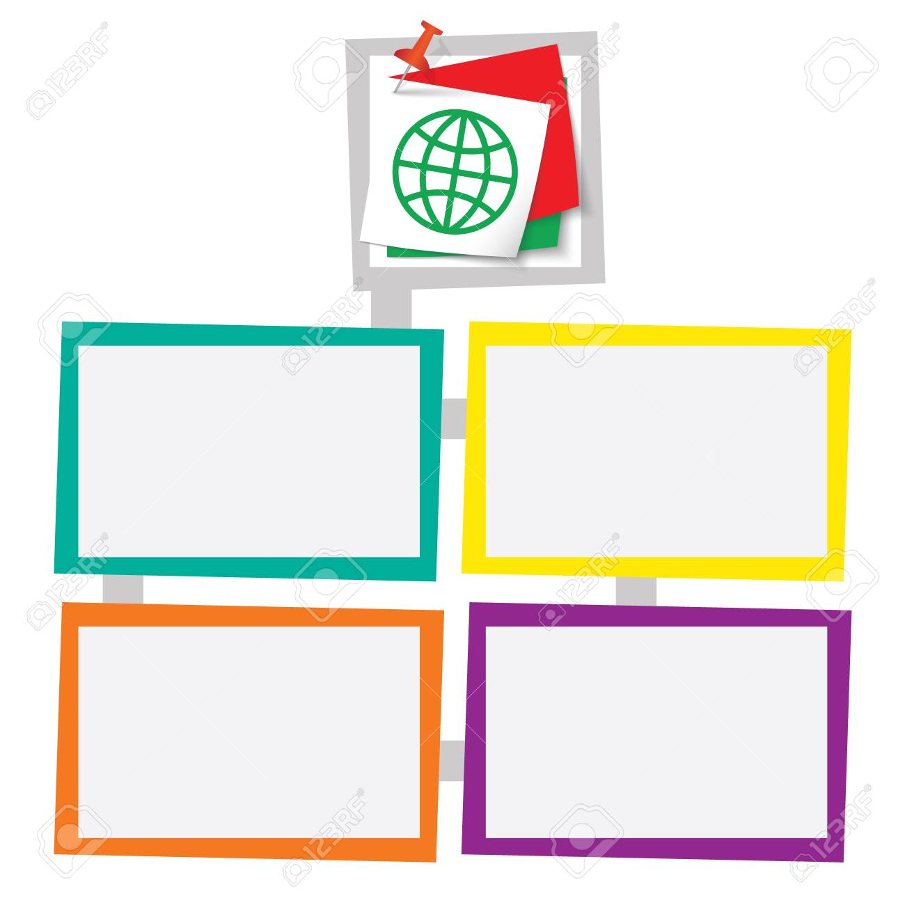 Four Colored Frames For Your Text With Pushpin And Globe Icon ...