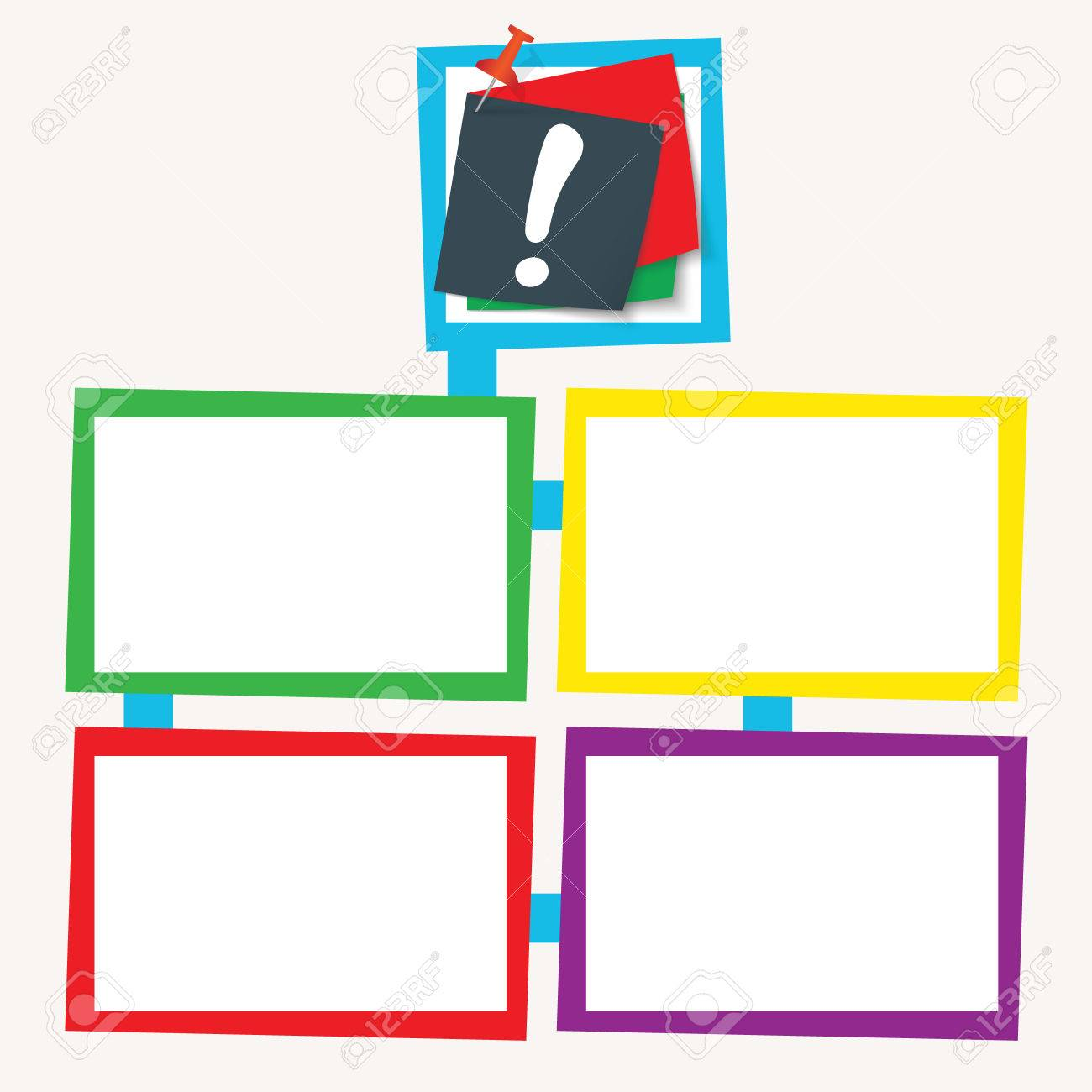 Four Colored Frames For Your Text With Exclamation Mark Royalty Free ...