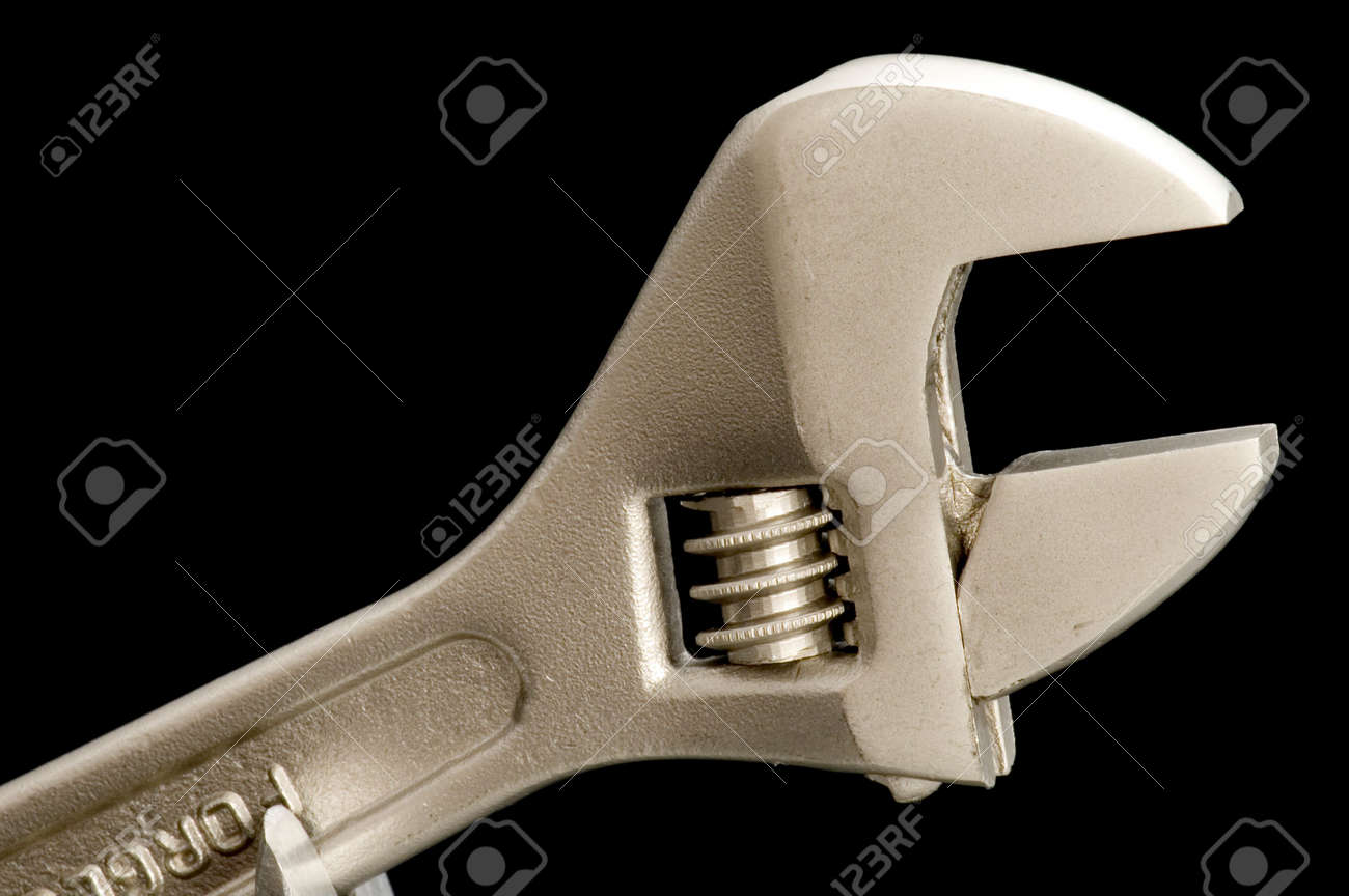 object on black - tool monkey wrench Stock Photo - 3148633