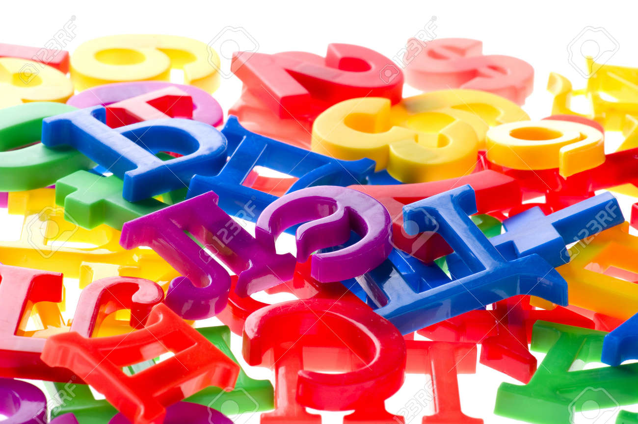 object on white - toy plastic letters and numbers Stock Photo - 6593255