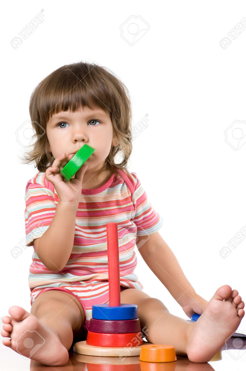 Casual portrait little girl on white background Stock Photo - 11279115