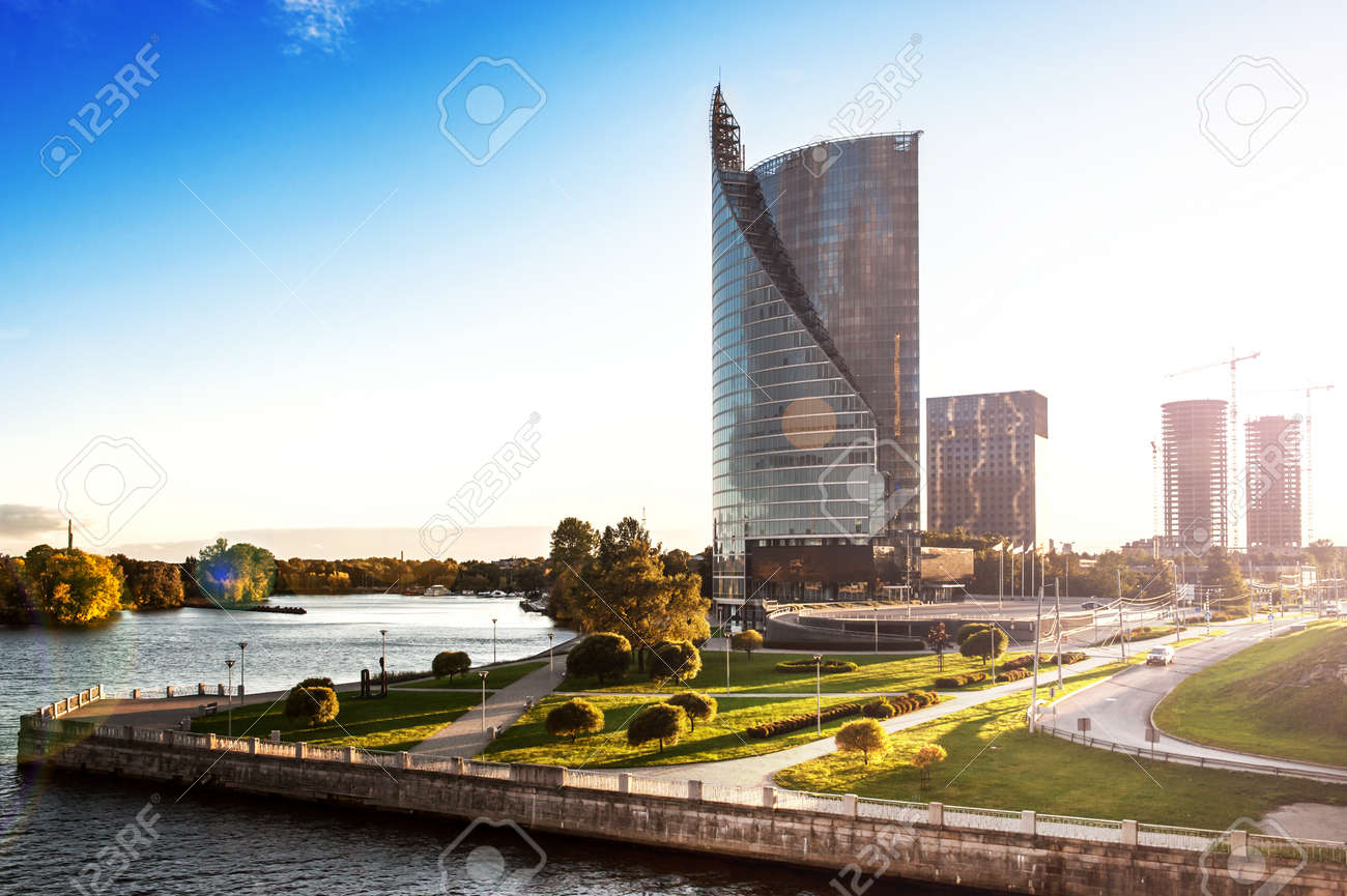 View Of he Modern House On he Waterfront iga Latvia Stock Photo ... - ^