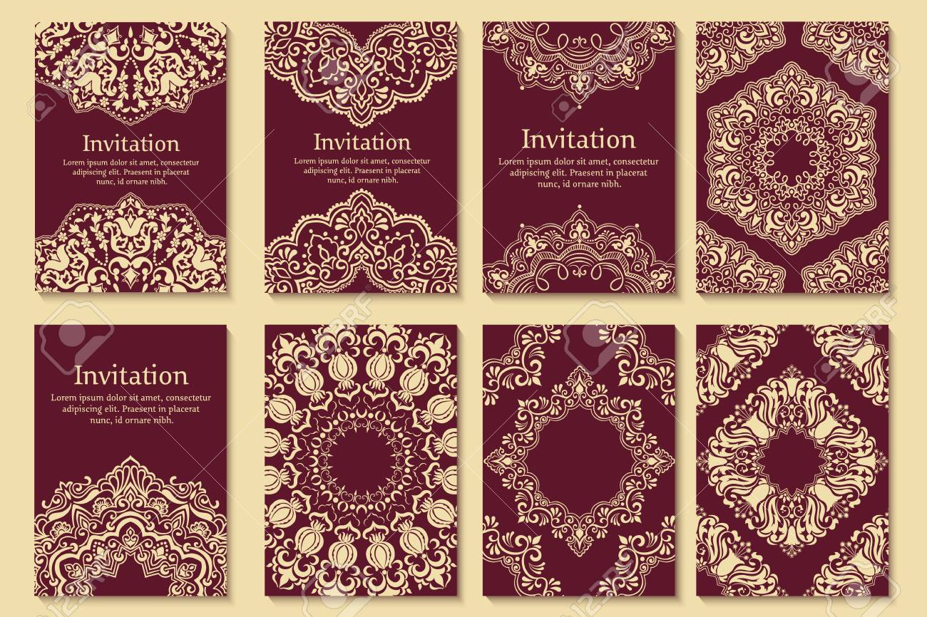 Set Of Invitations, Cards With Ethnic Henna Elements. Arabesque ...