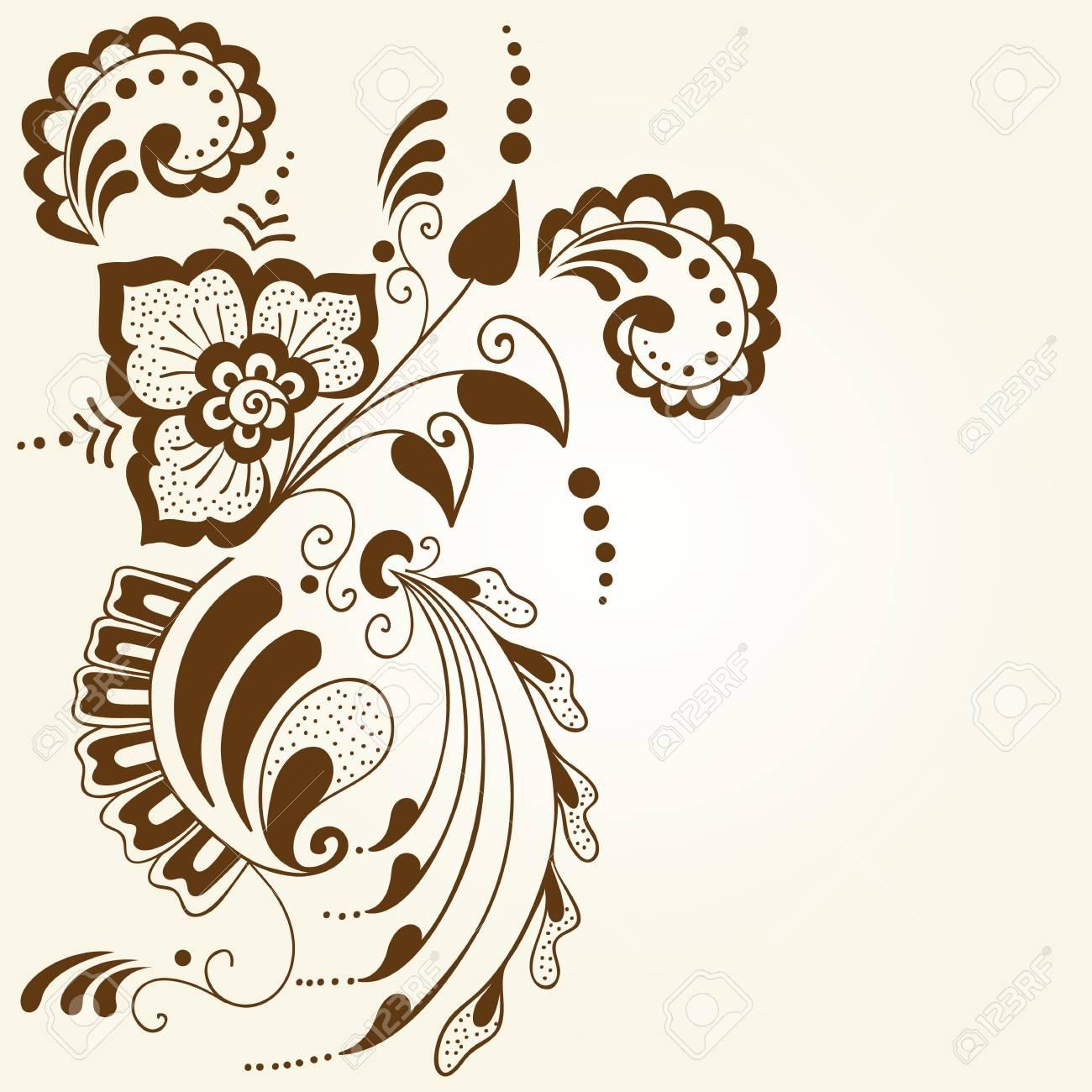 vector illustration of mehndi ornament traditional indian style rh 123rf com  henna designs vector free