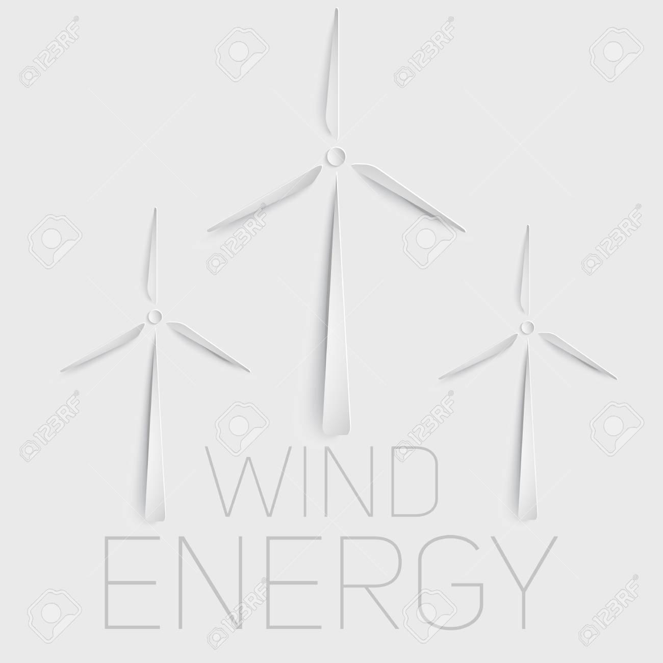 Vector Wind Turbine Symbol Green Energy Sign Paper Cut Symbol