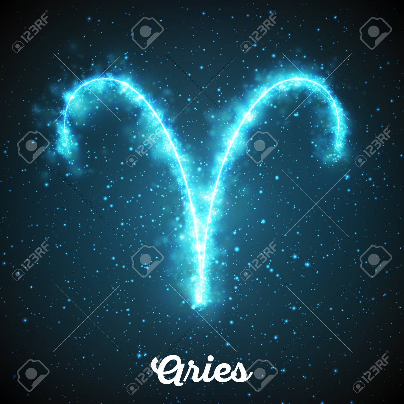 Vector abstract zodiac sign Aries on a dark blue background of