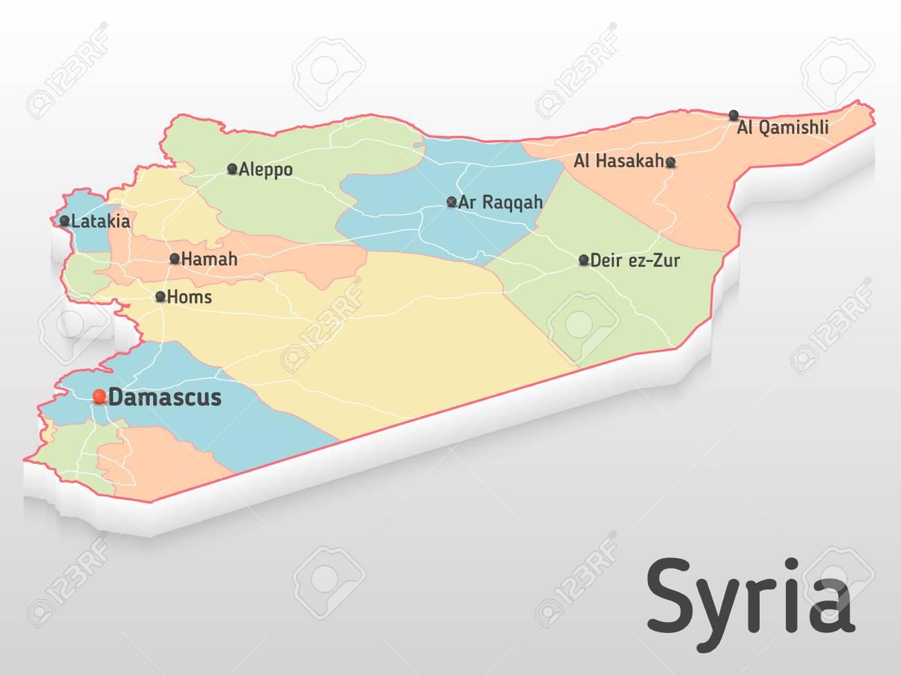 Siria Mapa 3d Con Las Principales Ciudades Y Gobernaciones Mapa