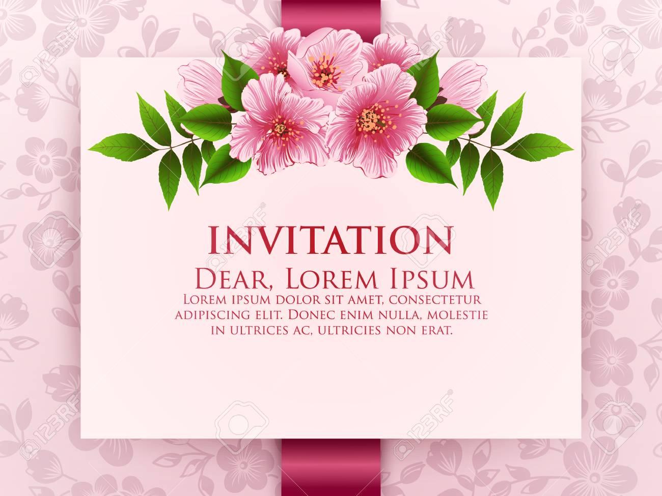 Tarjeta De Invitación De Boda Vector La Tarjeta De La Invitación Con El Fondo Floral Y El Marco Elegante Con El Texto Adornado Con La Composición De