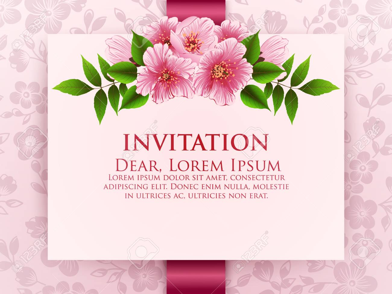 Wedding Invitation Card Vector Invitation Card With Floral Background