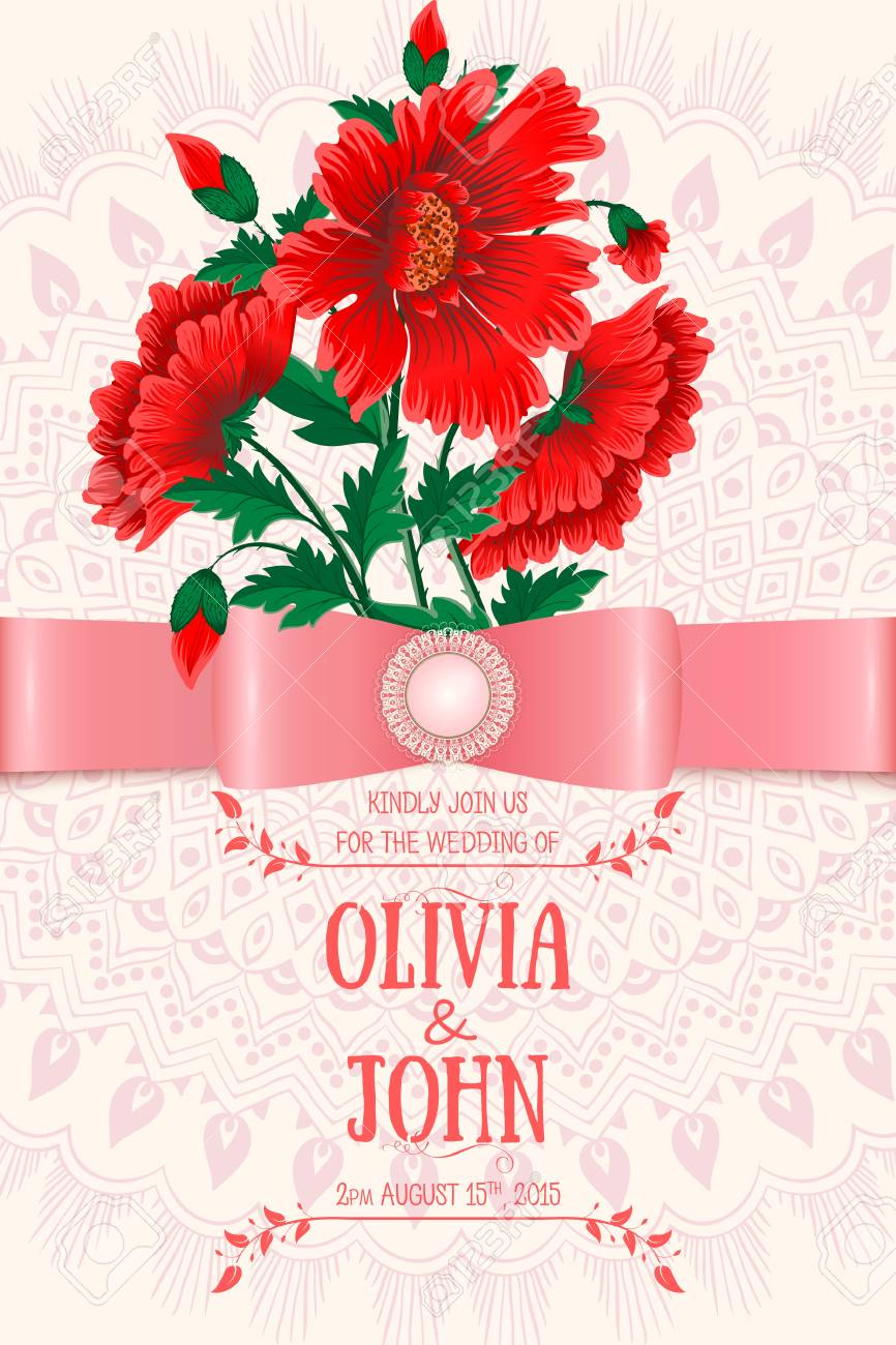 Wedding Invitation Card. Vector Invitation Card With Floral ...