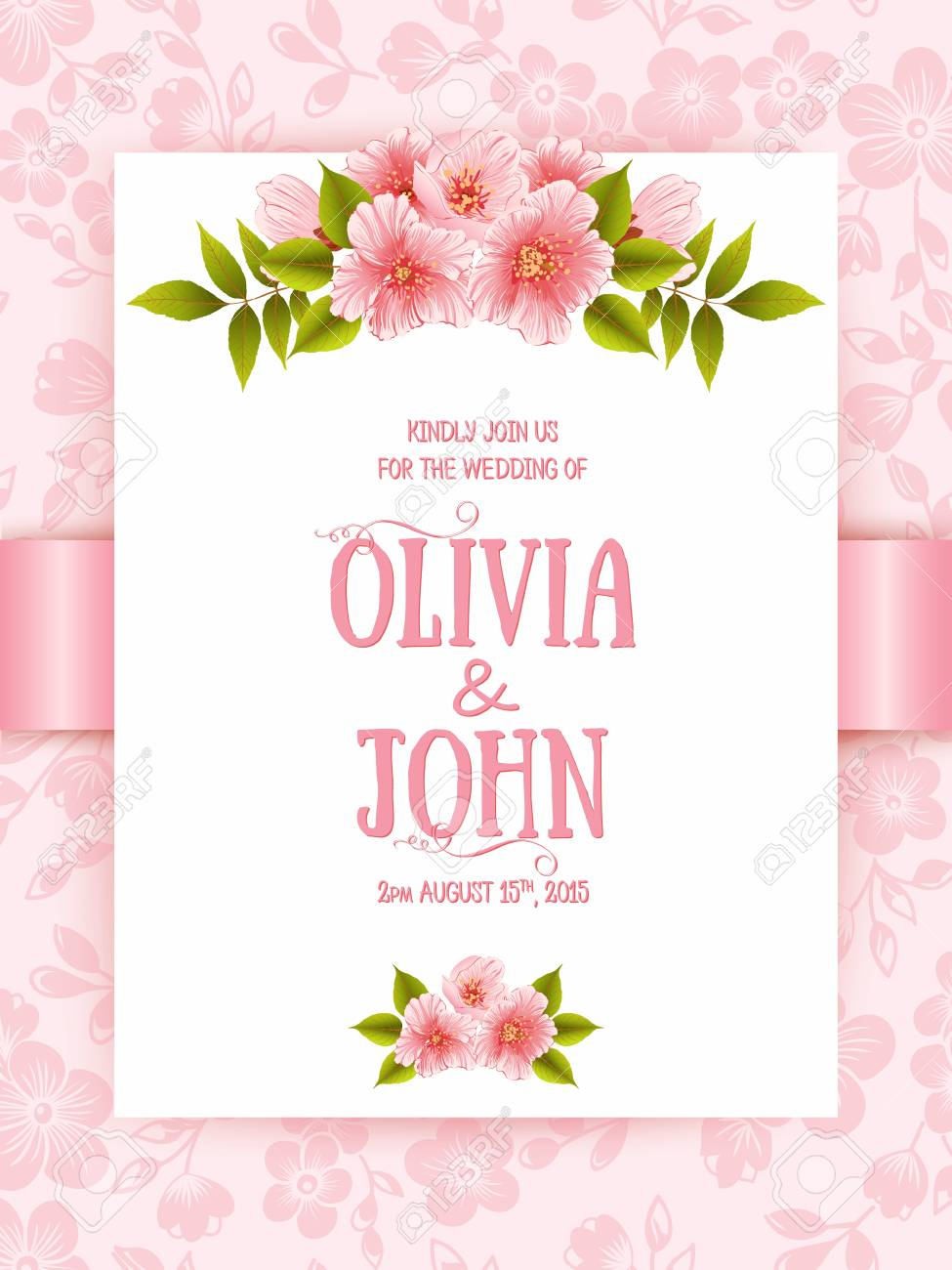 Wedding invitation card vector invitation card with floral vector wedding invitation card vector invitation card with floral background and elegant frame with text decorated with flower composition stopboris Gallery