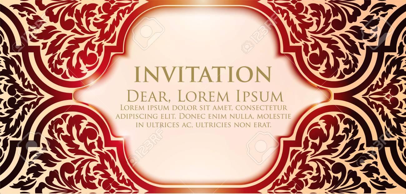 Invitation Cartes Avec Des Elements Arabesques Ethniques Conception De Style Arabesque Visite Eps10