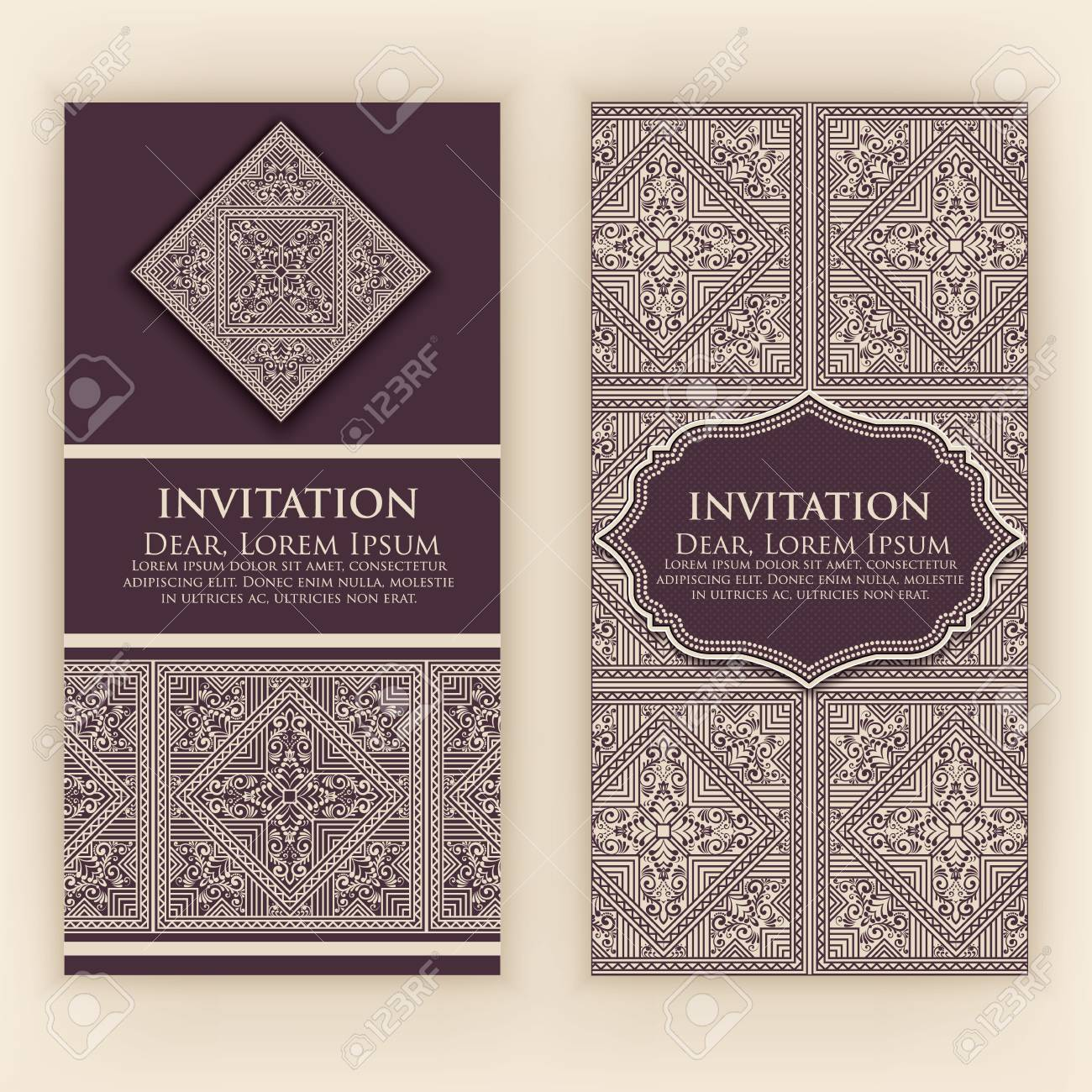 Vector invitation cards with ethnic arabesque elements arabesque imagens vector invitation cards with ethnic arabesque elements arabesque style design elegant floral abstract ornaments front and back side of card stopboris Gallery