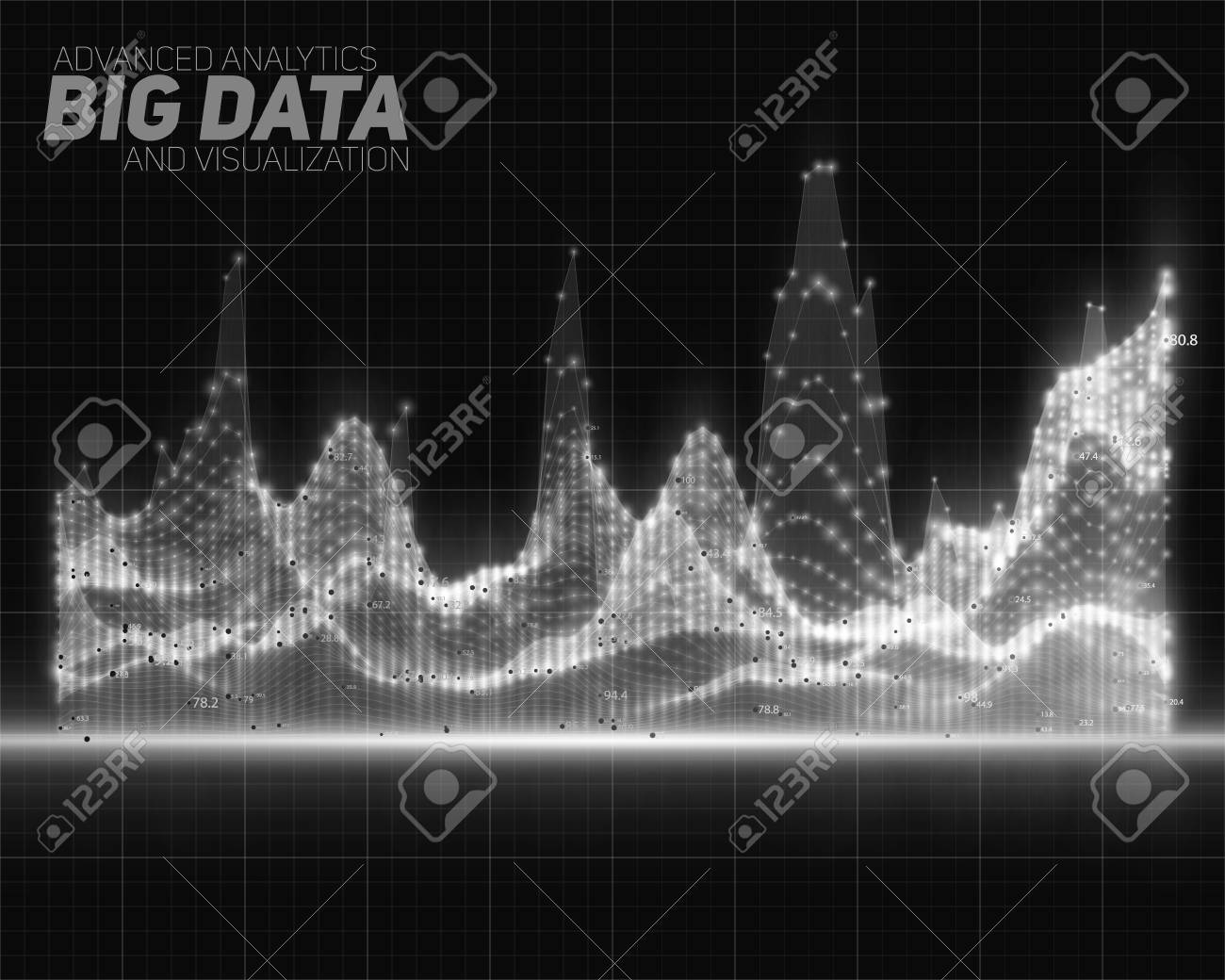 Vector Abstract Grayscale Big Data Visualization Futuristic Royalty Free Cliparts Vectors And Stock Illustration Image 76182209