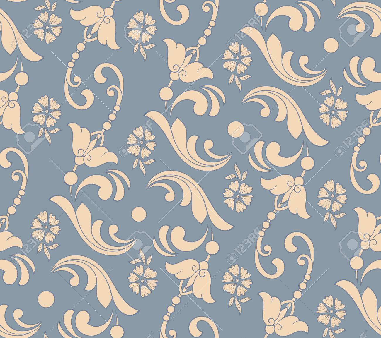 Vector flower seamless pattern element. Elegant texture for backgrounds. Classical luxury old fashioned floral ornament, seamless texture for wallpapers, textile, wrapping - 138970920