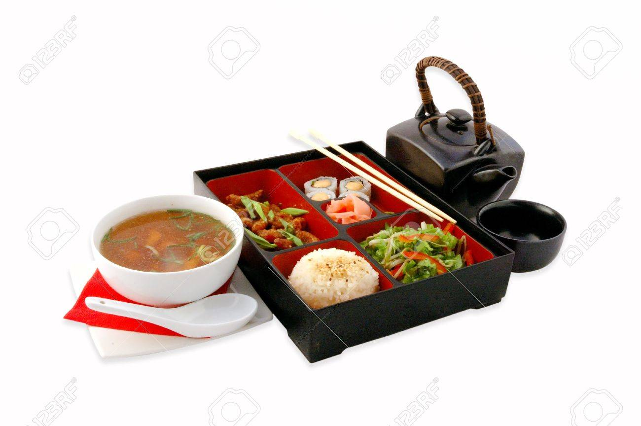 Complex dinner at the Japanese restaurant On a white background Stock Photo - 6447994