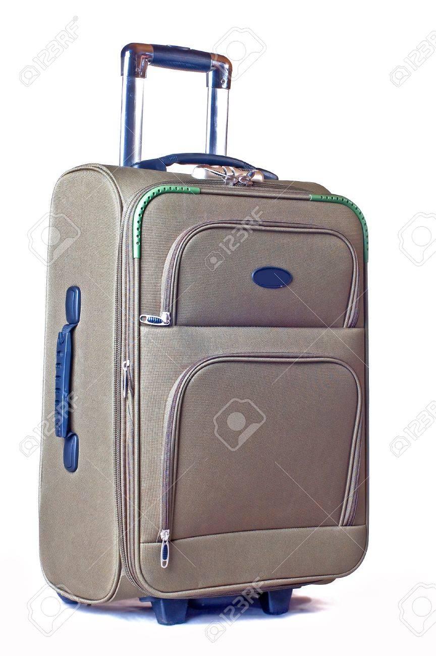 modern convenient suitcase on castors on a white background stock  - modern convenient suitcase on castors on a white background stock photo