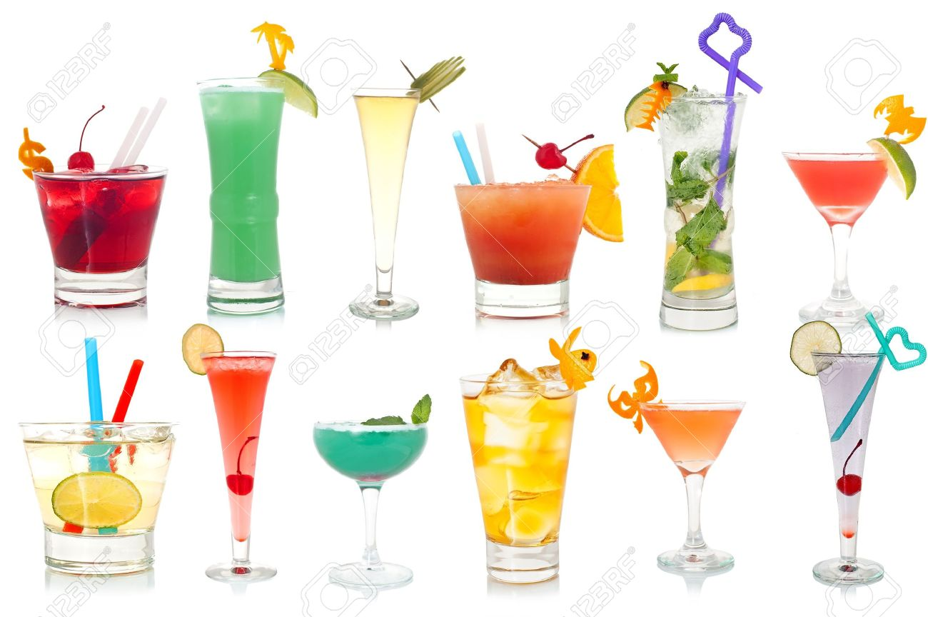 Wide assortment of freakish cocktails on a white background Stock Photo - 11214591