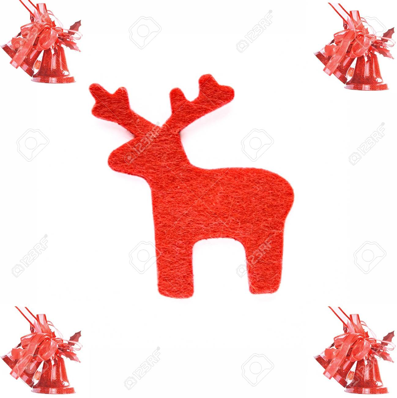 Reindeer and bell are isolated at the white background. Stock Photo - 6001080