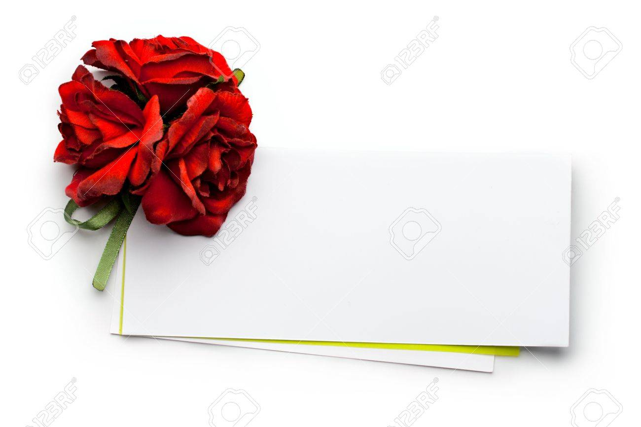 Card and roses isolated on white Stock Photo - 8436259