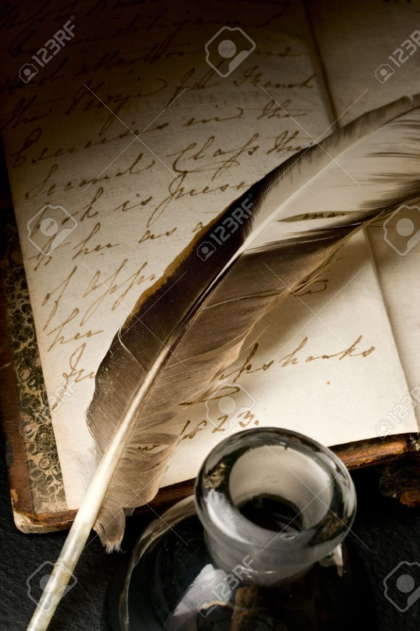 Old book with feather and inkpot Stock Photo - 10831400