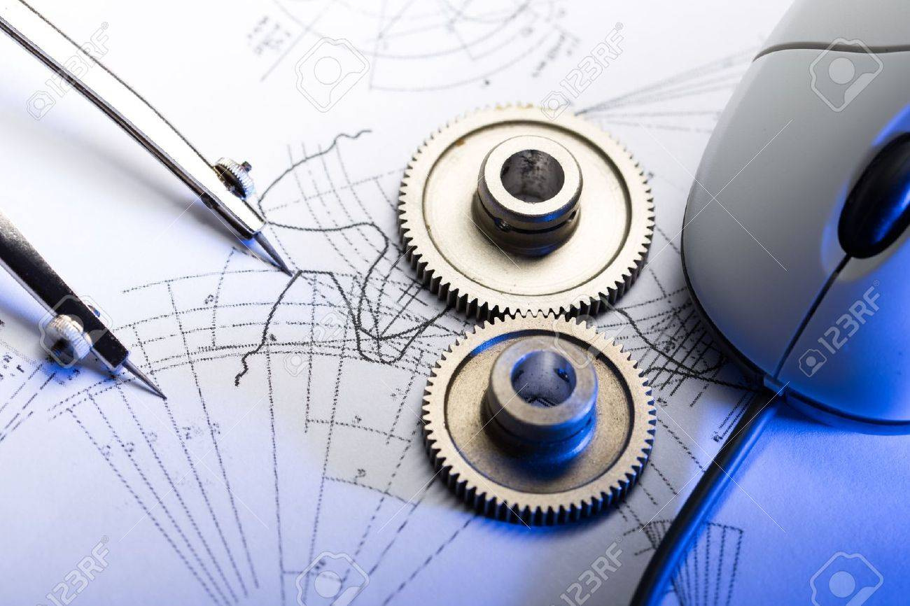 mechanical ratchets dividers and drafting stock photo picture