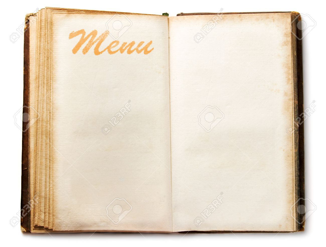 Blank Vintage Menu Book Stock Photo, Picture And Royalty Free ...