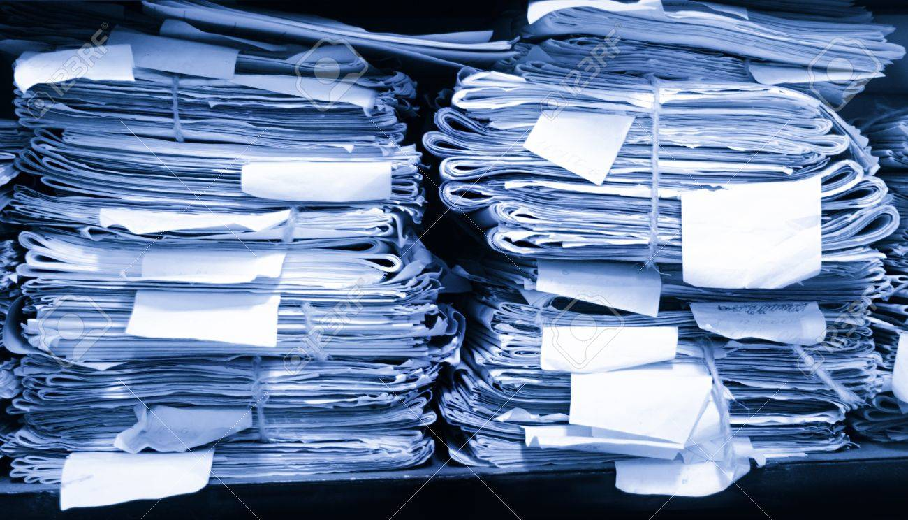 Paper Documents Stacked In Archive Stock Photo, Picture And ...