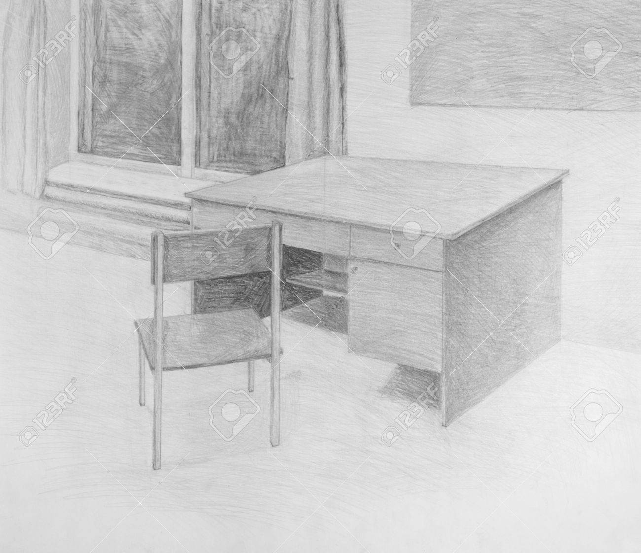 Pencil drawing of chair and table stock photo 18915512