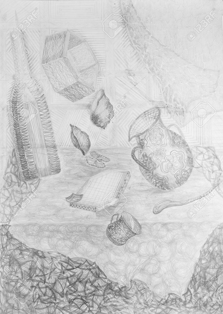 Pencil Drawing Of Falling Objects Stock Photo Picture And Royalty Free Image Image 18915515