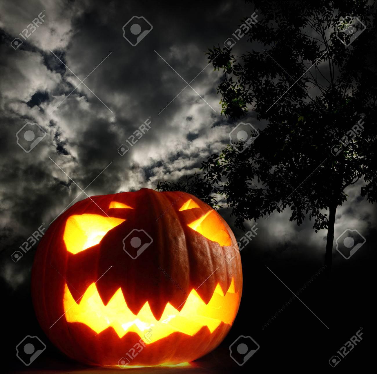 Angry halloween pumpkin on thunder sky background Stock Photo - 22471857