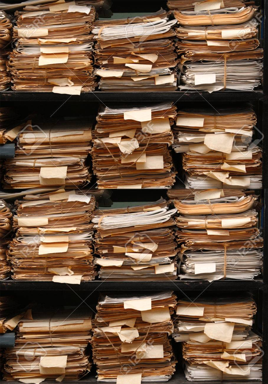 Paper Documents Stacked In Archive Multi Version Stock Photo ...