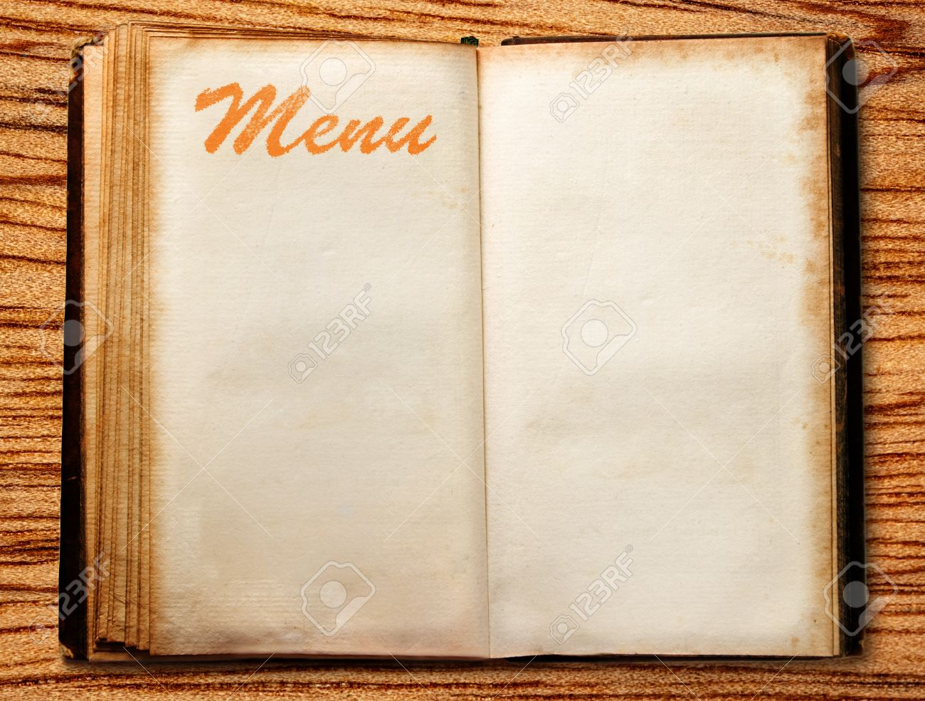 One Ope Blank Vintage Menu Book On Wood Stock Photo, Picture And ...