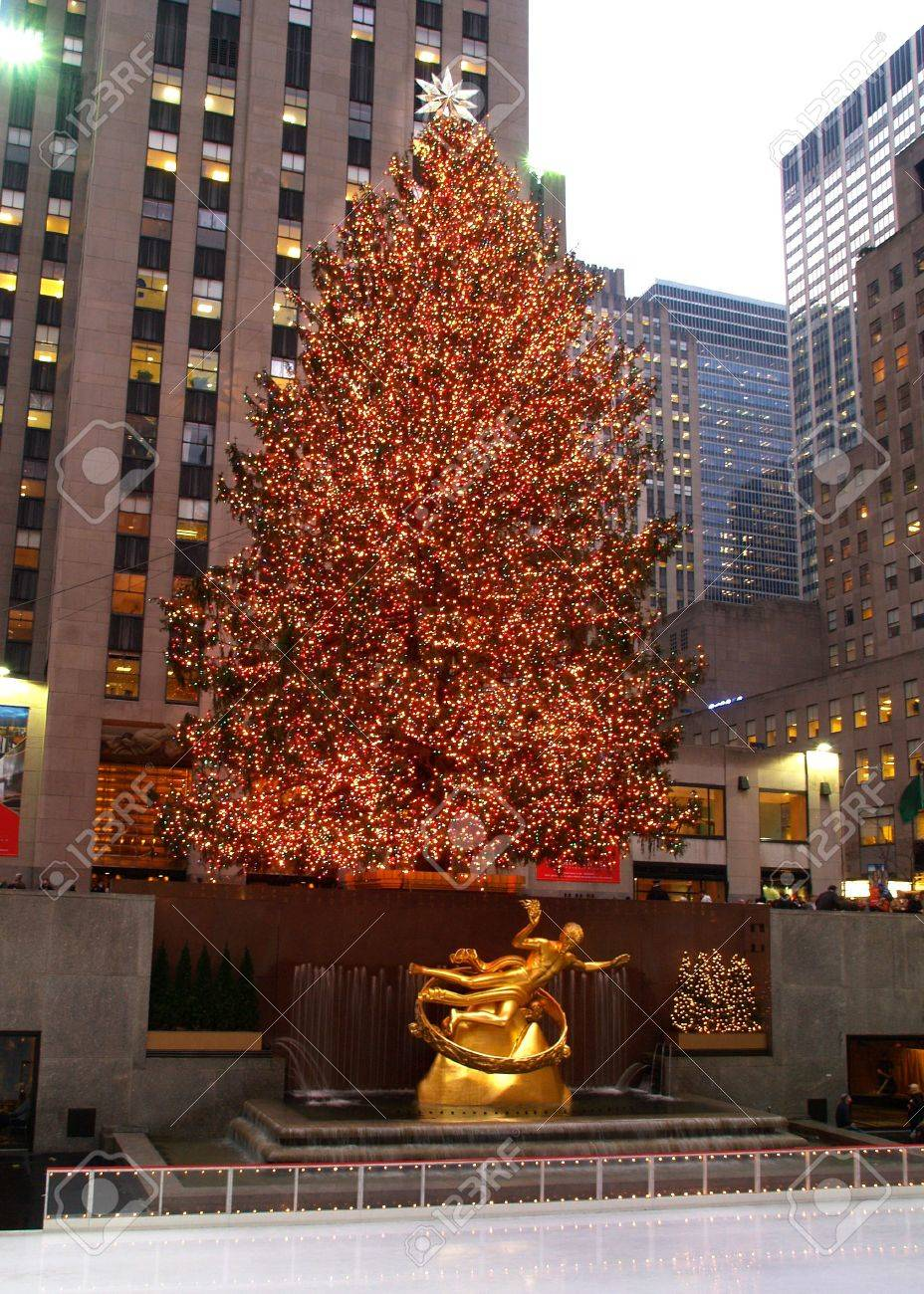 Christmas Tree Lighting At Rockefeller Center In NYC Stock Photo ...
