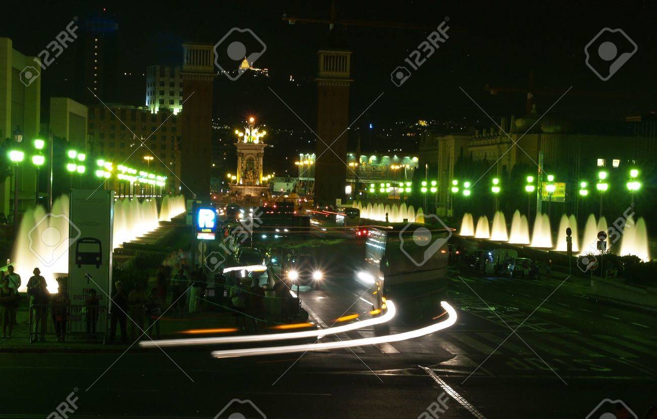 Street at Montjuic (magic) fountain in Barcelona at night Stock Photo - 882811