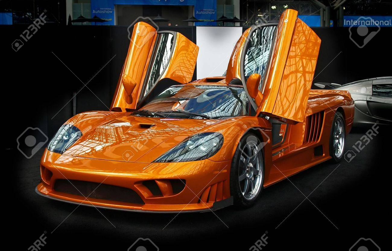 a sport car displayed at the international auto show 2007 in nyc stock photo